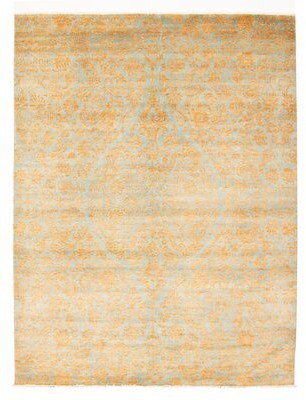Ecarpetgallery Hand Knotted Wool Gold/Light Blue Area Rug