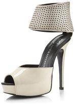 Mixed-Leather Platform Heel, Cream