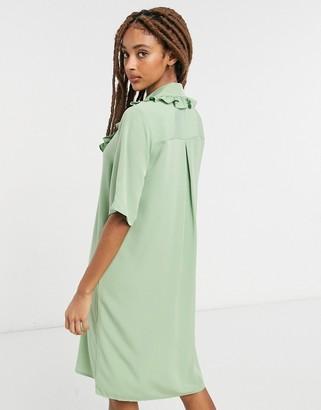 Monki Marian frill collar mini dress in green