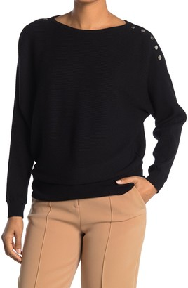 Catherine Malandrino Boatneck Button Shoulder Dolman Sleeve Pullover