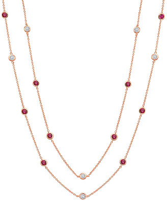 Crislu 18K Rose Gold & Silver Cz 36In Necklace