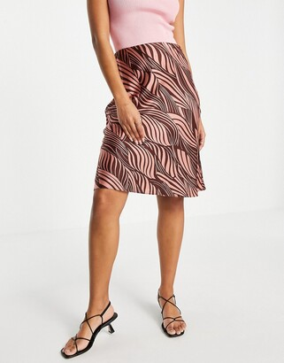 And other stories & satin printed above knee skirt in pink