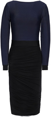 Herve Leger Ponte And Ruched Stretch-mesh Dress