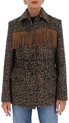 Saint Laurent Fringed Leopard Print Jacket