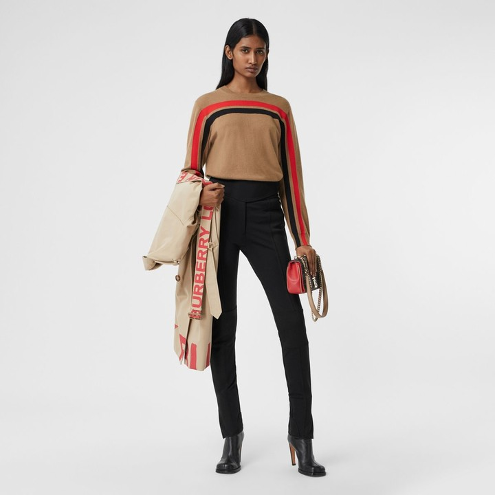 Burberry Stripe Detail Technical Cashere Sweater