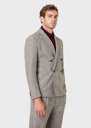 Giorgio Armani Regular Fit Jacket In Princes Of Wales Check From The Upton Line