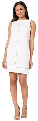 Maggy London Geo Diamond Stripe Novelty Shift (White) Women's Dress