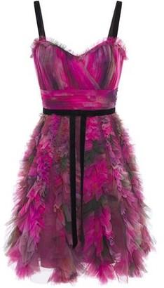Marchesa Ruffle-trimmed Pleated Printed Tulle Mini Dress