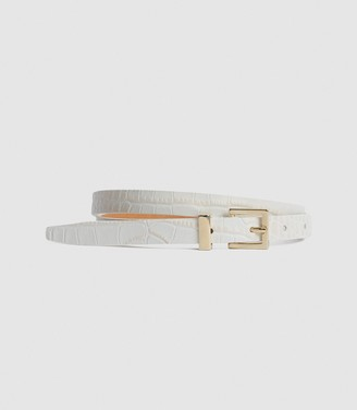 Reiss Olive - Leather Skinny Belt in Nude