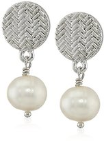 "Cole Haan Fresh Water Pearls"" Logo and Pearl Double Drop Earrings"