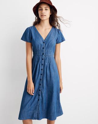 Madewell Denim Pleat-Waist Midi Dress