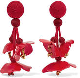 Oscar de la Renta Falling Beaded Acetate Clip Earrings - Red