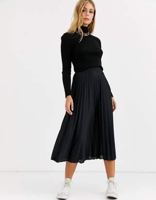 Asos Design DESIGN pleated midi skirt-Black