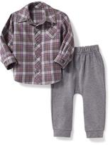 Old Navy Plaid Shirt & Pant Set for Baby