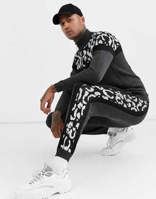 Asos Design DESIGN knitted co-ord joggers with animal blocking-Black