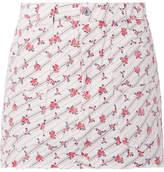 RE/DONE Cargo Frayed Printed Denim Mini Skirt - White