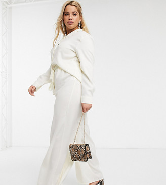 In The Style Plus exclusive relaxed wide leg pants in cream