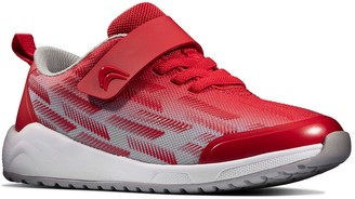 Clarks KidAeon Pace Lace Trainer - Red/Grey