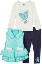 Kids Headquarters Blue & White Bow Vest Set - Infant Toddler & Girls
