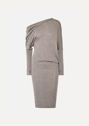 Tom Ford One-shoulder Cashmere And Silk-blend Dress - Dark gray