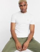 SikSilk muscle fit polo with taped grandad collar in white
