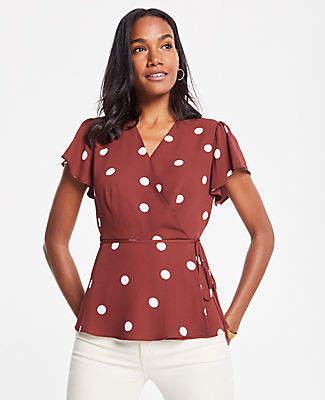 Ann Taylor Polka Dot Belted Wrap Top