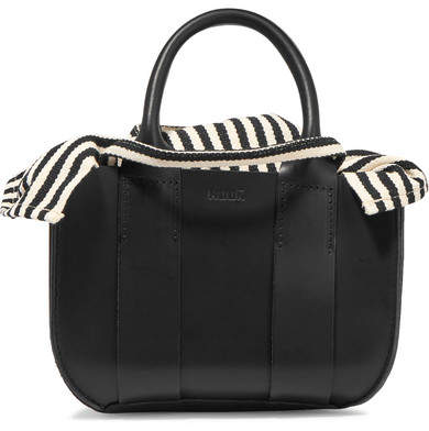 Muun Gilbert Micro Leather And Striped Cotton-canvas Tote - Black