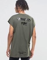 Asos Oversized Sleeveless T-Shirt With High Shine Back Print In Khaki