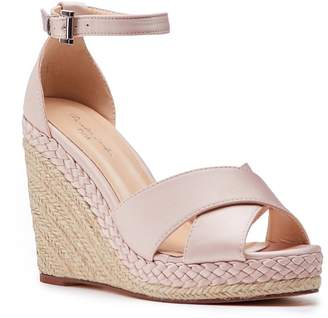Paradox London Yolanda Blush High Heel Ankle Strap Crossover Espadrilles