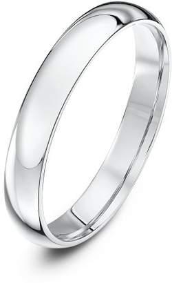 Theia Unisex Heavy Court Shape Polished 18 ct White Gold 3 mm Wedding Ring - Size O