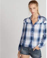 Express light plaid ruffle shoulder shirt