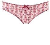 Charlotte Russe Printed Lace-Trim Thong Panties