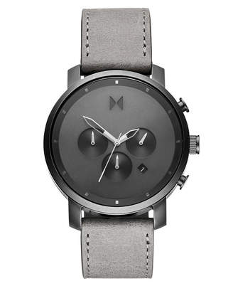 MVMT Chronograph Chrono Monochrome Gray Leather Strap Watch 45mm
