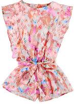 Mayoral Sleeveless Belted Floral Satin Romper, Pink, Size 3-7