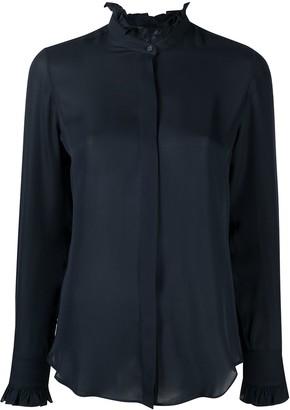 Nili Lotan Ruffle-Neck Silk Shirt