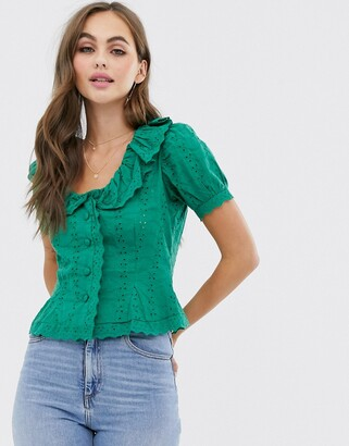 Asos Design DESIGN short sleeve tea blouse in broderie with collar detail