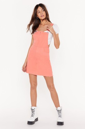 Nasty Gal Womens Keep It Casual Denim Dungarees Dress - Orange - 6, Orange