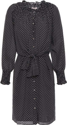 Rebecca Taylor Shirred Polka-dot Silk Crepe De Chine Mini Dress