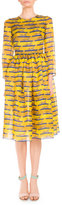Mary Katrantzou 3/4-Sleeve Striped Lion-Print Dress, Yellow