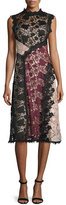 Nanette Lepore Sleeveless Colorblock Lace Midi Dress, Black/Multicolor