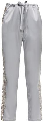 I.D. Sarrieri Embroidered Tulle-trimmed Silk-blend Satin Pajama Pants