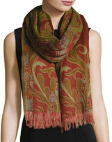 Sabira Midnight Garden Wool Shawl, Orange/Green