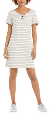 Style&Co. Style & Co Lace-Up T-Shirt Dress, Created for Macy's