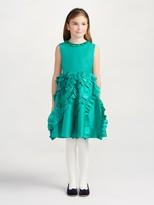 Oscar de la Renta Taffeta Multi Ruffle Dress