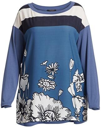 Marina Rinaldi, Plus Size Venere Crepe de Chine Print Tunic Top