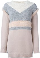 Agnona textured colour block jumper