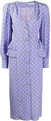 Alessandra Rich Polka-Dot Ruffle-Trimmed Dress