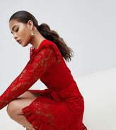 ASOS Tall ASOS DESIGN Tall Wrap Lace Dress With Asymmetric Hem