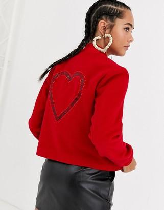 Love Moschino glitter heart wool blend bomber jacket-Red