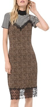 MICHAEL Michael Kors Animal Print Lace Detail Slip Dress